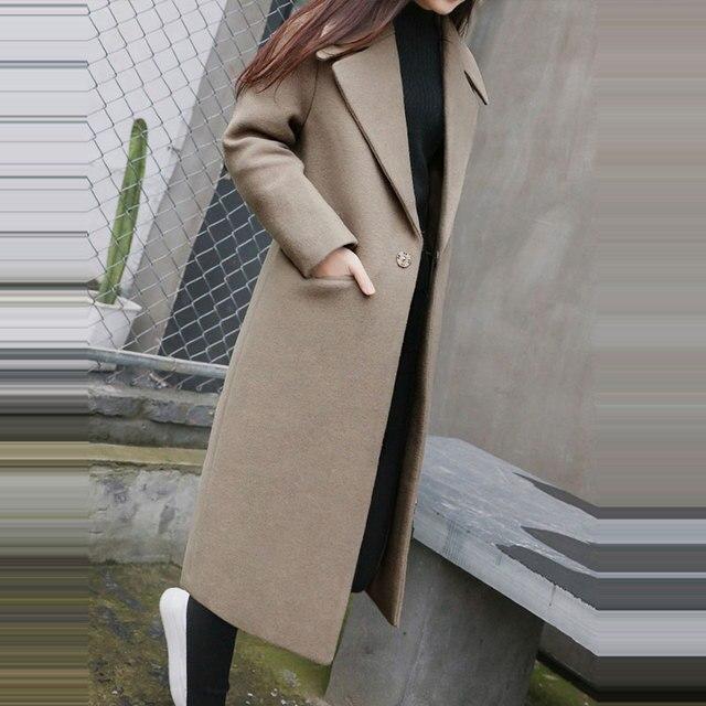 1 PC Frühling Herbst frauen Wolle Mantel Neue Mode Lange Woll Mantel Einreiher Dünne Art Weibliche Herbst Winter wolle Mäntel