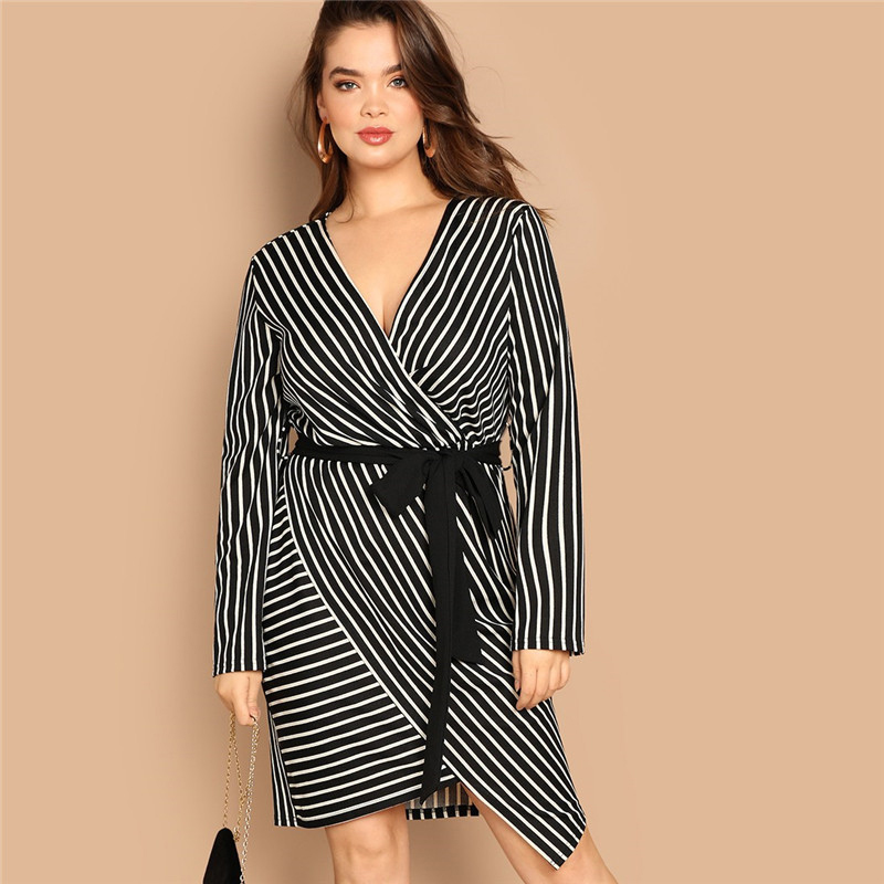SHEIN Black and White Plus Size Deep V Neck Striped Dress Asymmetrical Hem Women Workwear Going Out Elegant Dresses 7
