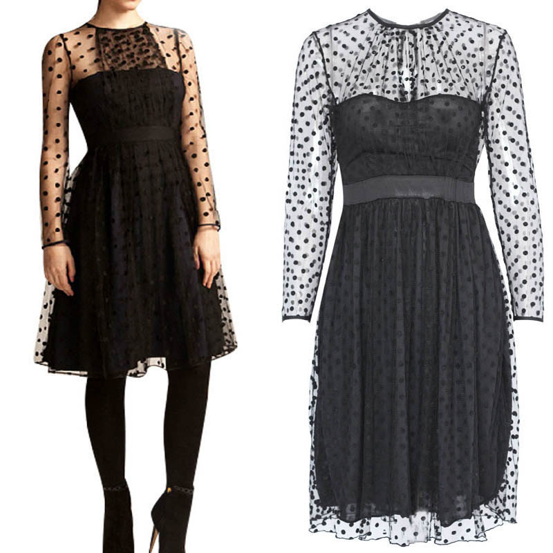 Women Dress Hot Selling Sexy Black Dots Lace Long Sleeve Party Wear See Through Mesh