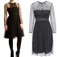 Women Dress Hot Selling Sexy Black Dots Lace Long Sleeve Party Wear See Through Mesh Knee Length Loose Casual Dress W850449