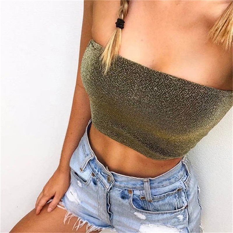 Evening party club tub tops women camisole sexy bright silk sleeveless crop top summer beach short bustier female camis