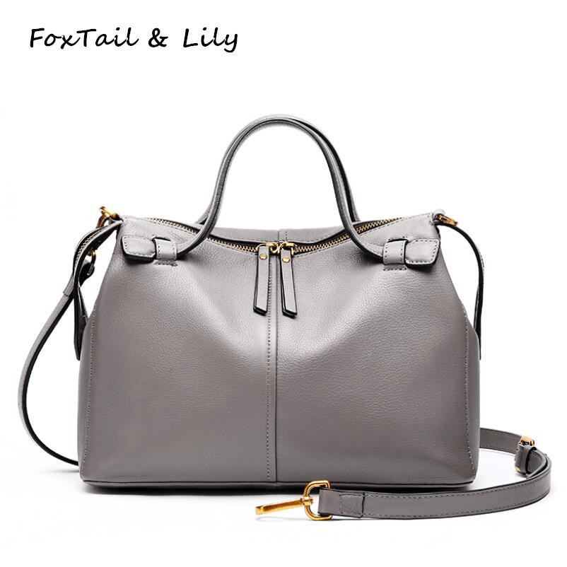 FoxTail & Lily Genuine Leather Boston Bag European Style Women Designer Handbags Famous Brands Luxury Shoulder Messenger Bags soft cowhide genuine leather women shoulder bags fashion handbags simple european style boston messenger bag pillow female packs