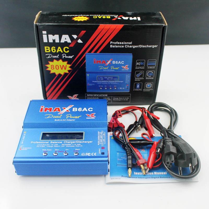 IMAX B6AC 80W RC Balance Lipo Battery Charger B6 AC Nimh Nicd lithium Battery + EU/US/UK/AU plug power supply wire free shipping imax b6 ac b6ac lipo nimh 3s rc battery balance charger