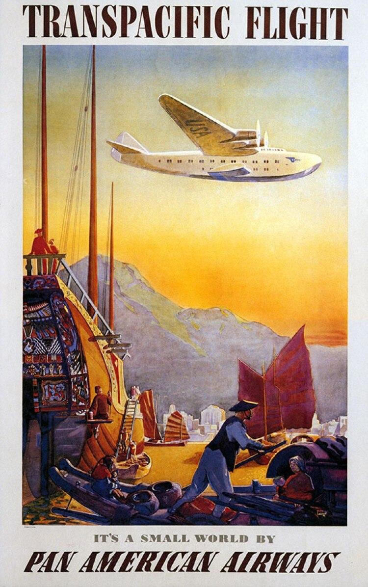 Pan American Airways Caribbean Travel Landscape Vintage Retro Poster ...