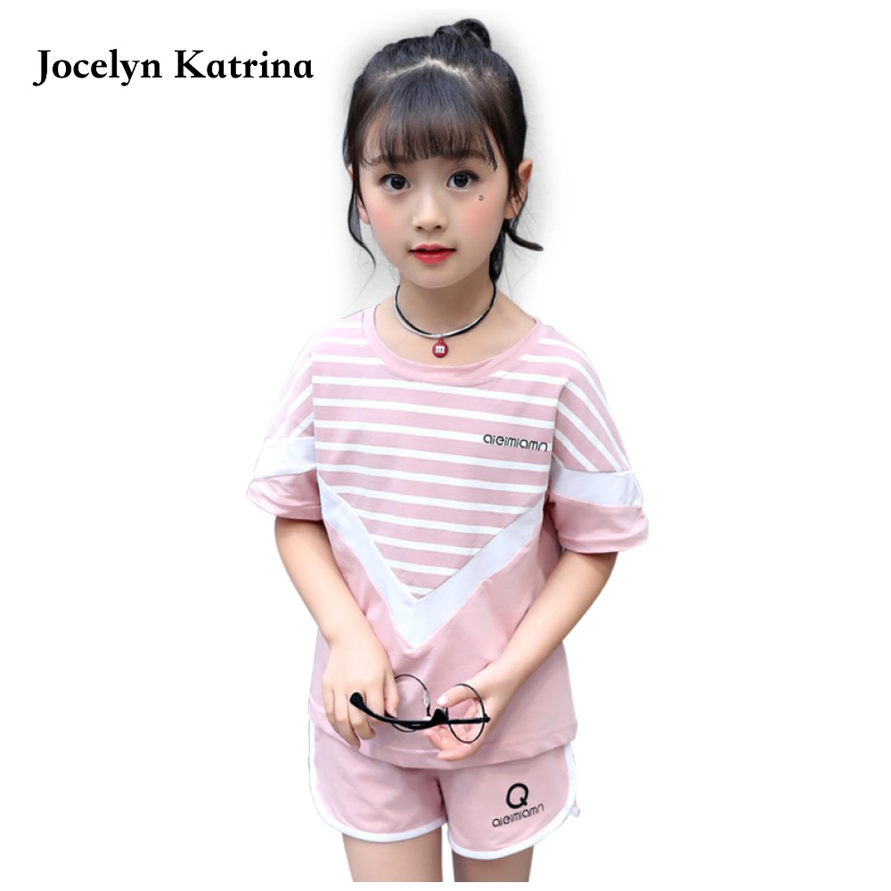 100% Cotton Summer girls Children Clothing Set Cute Short Sleeve T-shirt and Short Pants Fashion Baby girls Clothing Set european and american style brand children s clothing children summer cotton short sleeved t shirt baby girls t shirt 50158