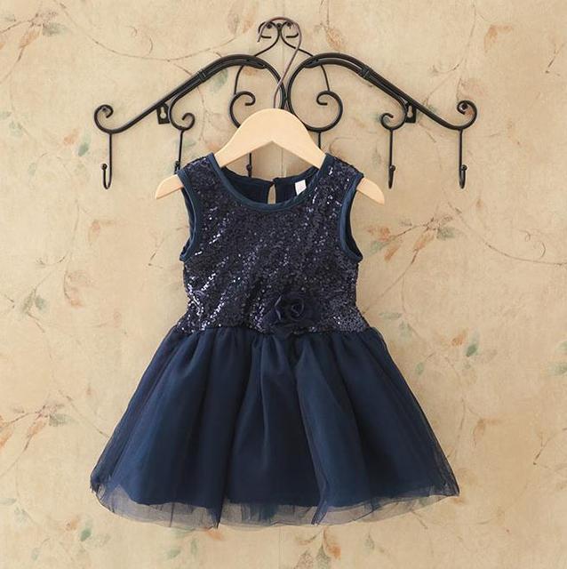 Verano Del Niño Del Bebé Ropa de Encaje Lentejuelas Vestido Para Bebé Floral Princesa Vestido de Los Niños Vestidos de Ropa de niños