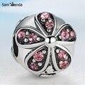 6 Cor Da Flor de Prata Banhado Charme Talão de Cristal de Segurança Clipe Stopper Beads Fit Mulheres Diy Pandora Pulseiras & Bangles YW15810