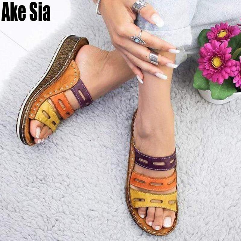 Chic été femmes dame mode trois couleurs couture décontracté bas talon compensé plage ouvert Peep Toe sandales pantoufles chaussures A880