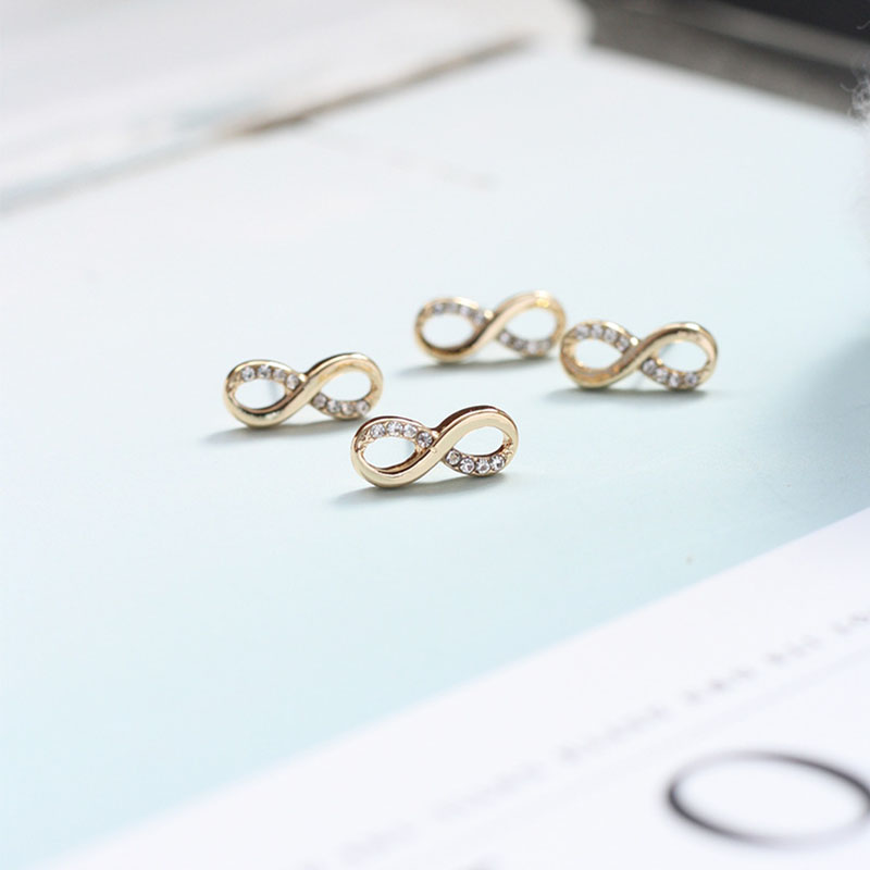 1pair Women Fashion Zircon Crystal Rhiestone Alloy Infinity Ear Stud