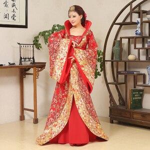 Image 2 - الفاخرة تانغ سلالة زي سحب الذيل محية الجنية المرأة زي مرحلة العروس الصينية الزفاف استوديو موضوع فستان رقص