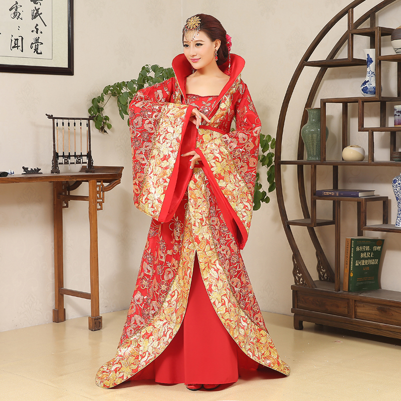 Image 2 - Luxury Tang Dynasty Costume drag tail concubine fairy womens costume stage bride Chinese wedding studio theme dance dresstang dynasty costumetang dynastydynasty costume -