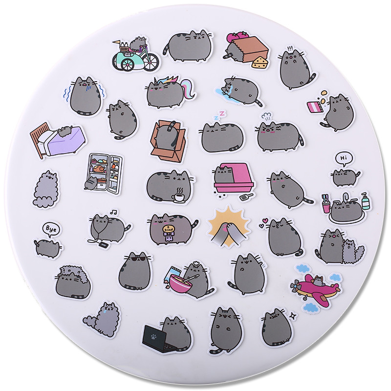 Image 5 - 40 pcs Fat cat expression homemade Sticker for Kid DIY Laptop Waterproof Skateboard Moto phone Car Toy Scrapbooking Stickers-in Stickers from Toys & Hobbies