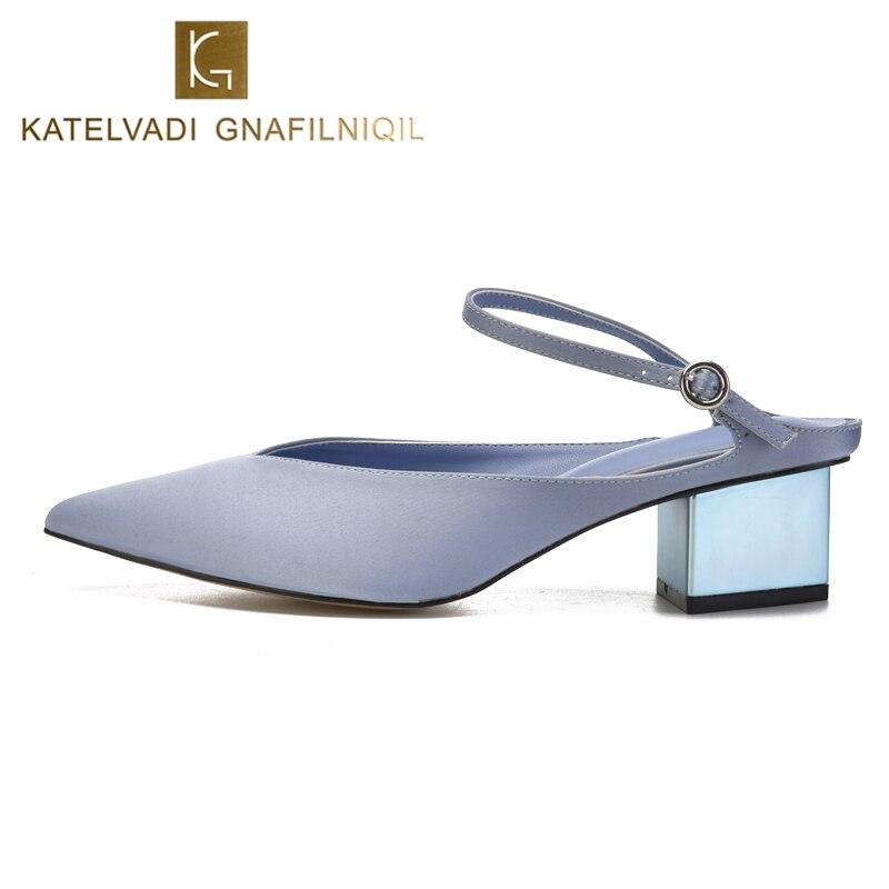 KATELVADI Light Blue Heels Sandals 5CM Women Summer Satin Sqare Shoes Woman K-342