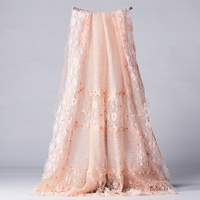 Elegant wild lace silk scarf India scarf women handmade beaded pink wool silk blend scarf