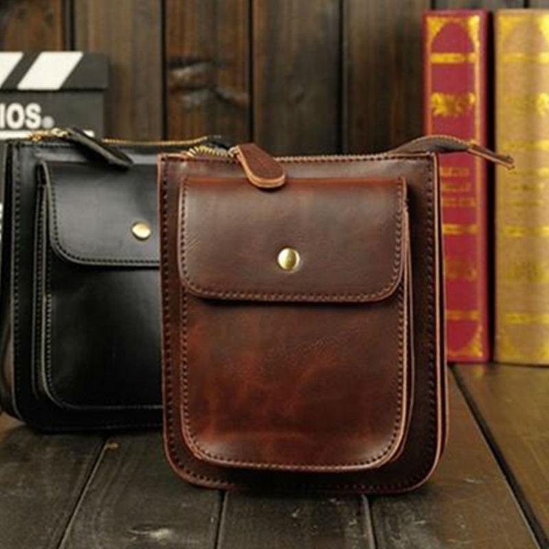 Mens PU Leather Pouch Fanny Waist Belt Hip Pack Shoulder Diagonal Cellphone Bags