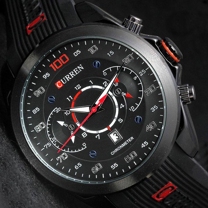 Prix pour 2015 nouvelle marque de luxe CURREN caoutchouc affichage analogique mode hommes montre à Quartz Casual sport montres hommes montre - bracelet