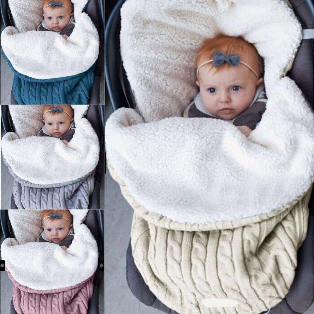Thick Baby Swaddle Wrap Knit Envelope Newborn Sleeping Bag Baby Warm Swaddling Blanket Infant Stroller Sleep Sack Footmuff