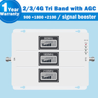 Signal Booster 2G 3G 4G Signal Tri Band Repeater Amplifier LCD Display 900 1800 2100MHz Booster