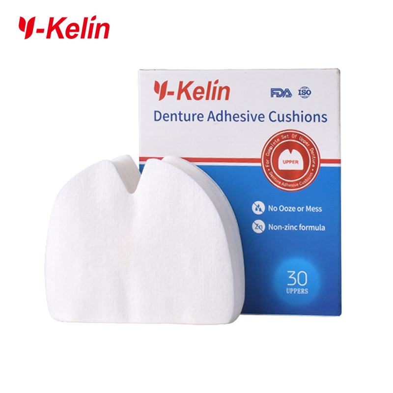 Y-Kelin Denture Adhesive Cushion (Atas) 30 bantalan untuk rahang atas gigi palsu atas rahang atas