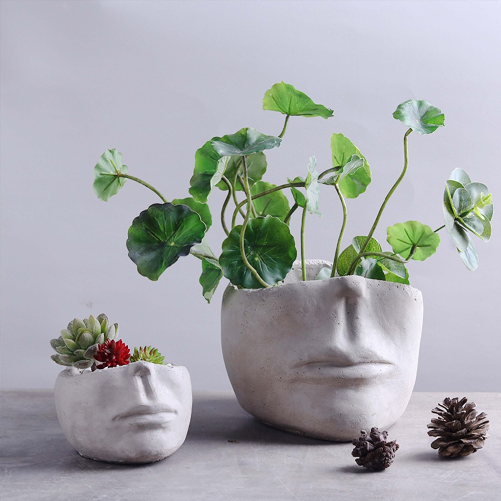 Creative Face Head Cement Vase Statue Garden Flower Pot Crafts Decoration Simple Nordic Desktop Planter Ornaments Sculpture Art