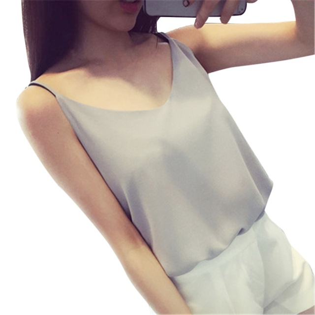 79bbbe5740 Women Summer Sleeveless Chiffon T-Shirt Sexy V-Neck Cami Loose Casual Female  Tops Vest Ladies Clothing