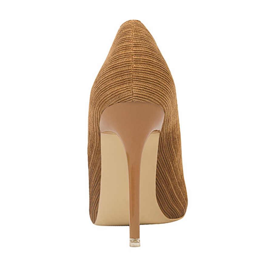 משרד ליידי דק העקב נשים נעלי 2019 חדש רך קורדרוי רדוד משאבות נשים מחודדת שמלת תמציתי גבוהה עקבים נעלי שחור חום