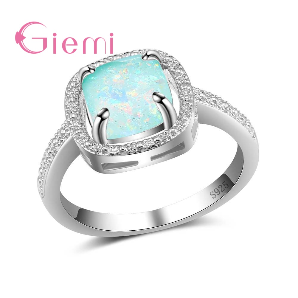 GIEMI Antique Banquet Jewelry 925 Sterling Silver Women Finger Rings for Wedding Classic Square Opal Crystal Anel for Engagement