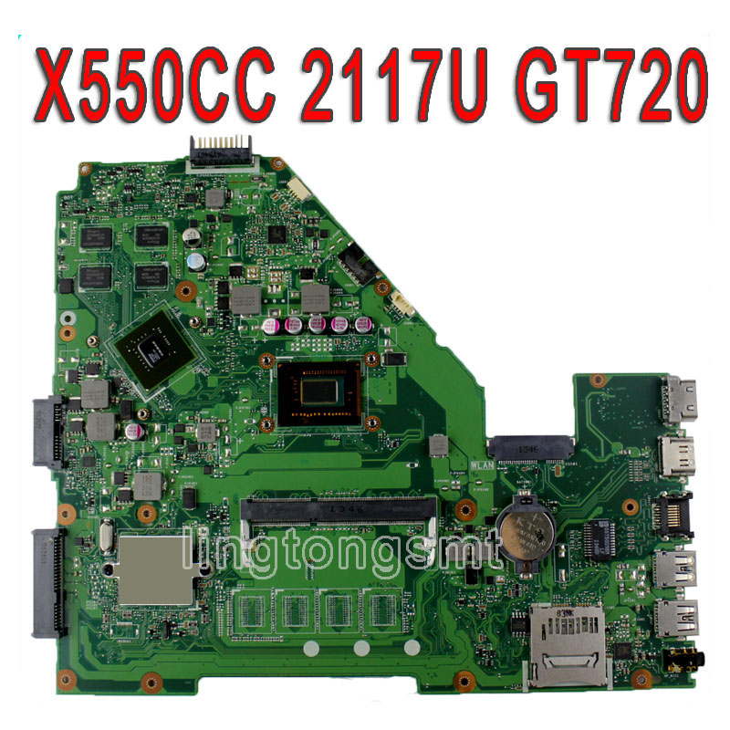все цены на Original X550CC R510CC DDR3 for ASUS Laptop Motherboard GT720M 2GB 2117 CPU HM76 X550CC REV:2.0 PN:60NB00WA 100% Tested онлайн