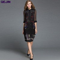 Women'dresses summer silk dress printed Broadcloth female Beach long Shirt dress Sunshine PROTECTIVE CASUAL BLACK Plus size 3XL