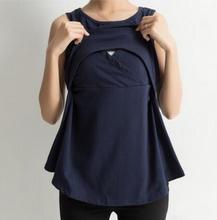 Breastfeeding Cotton Tee Breast Feeding T Shirt Summer Maternity Nursing Top Sleeveless Clothing Pregnancy Clothes XXL 3XL 4XL