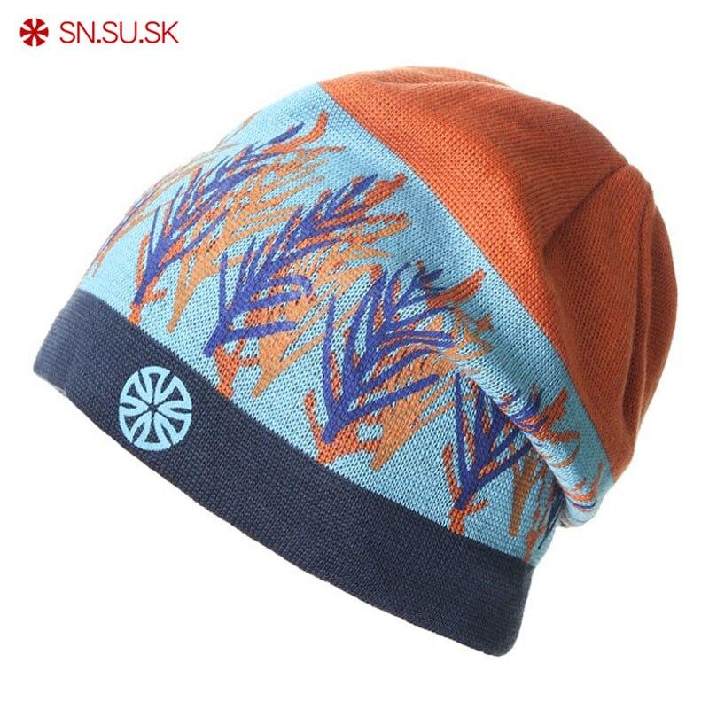 SN.SU.SK Fashion Bonnet Gorros Caps For Men Women Thick Men's Winter Hat Knitted Hat Warm Skullies & Beanies Skating Hat