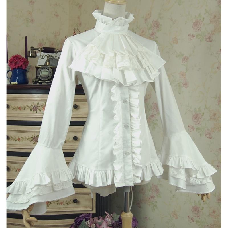 Spring women white shirt Vintage Victorian Bandage shirt Ladies gothic swallowtail blouse lolita costume