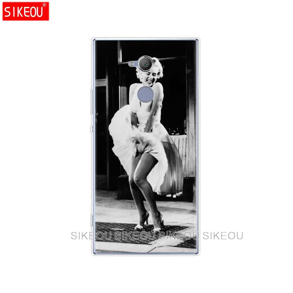 Pokrowiec na telefon silikonowy do sony xperia XA1 XA2 ULTRA PLUS L1 L2 XZ1 XZ2 kompaktowy XZ PREMIUM Marilyn Monroe z kotem