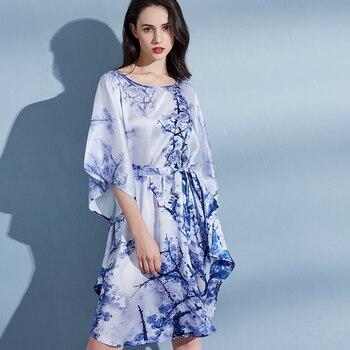 Women 100% Real Silk Nightgown for Summer Night Dress Sleepwear For Ladies Loose Print Half Sleeves Nightwear Homewear