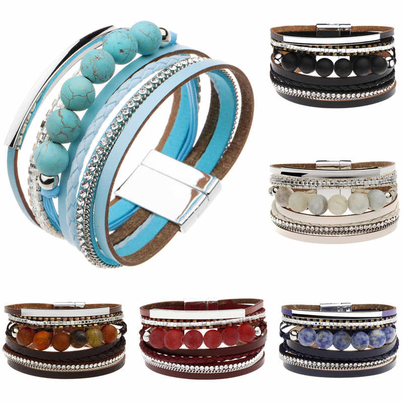 Multilayer Leather Bracelet For Women Metal Bar Charm Braided Wide Wrap Bracelets & Bangles Woman Jewelry Black / Brown