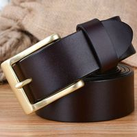2016 New Arrival Casual High Quality Waist Strap Solid Brass Belt Buckles 100 Genuine Leather Mens