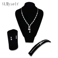 2019 pretty wedding jewelry sets Necklace+Bracelet+earrings+gift ring Party accessories beautiful Oval shape zircon jewellery