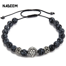 Men's Weave Kintted Design Bead Bracelet Silver Color Lion Head Charm Snowflake Stone Bead Adjustable Macrame Braieding Bracelet
