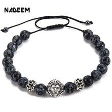 Men's Weave Kintted Design Bead Bracelet Silver Color Lion Head Charm Snowflake Stone Bead Adjustable Macrame Braieding Bracelet