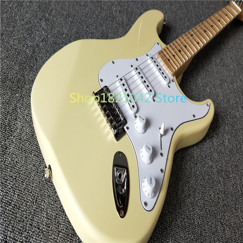 Festonné Touche, Dimarzio Micros, Vintage jaune crème Yngwie Malmsteen Guitare, grosse Tête ST Guitare Électrique
