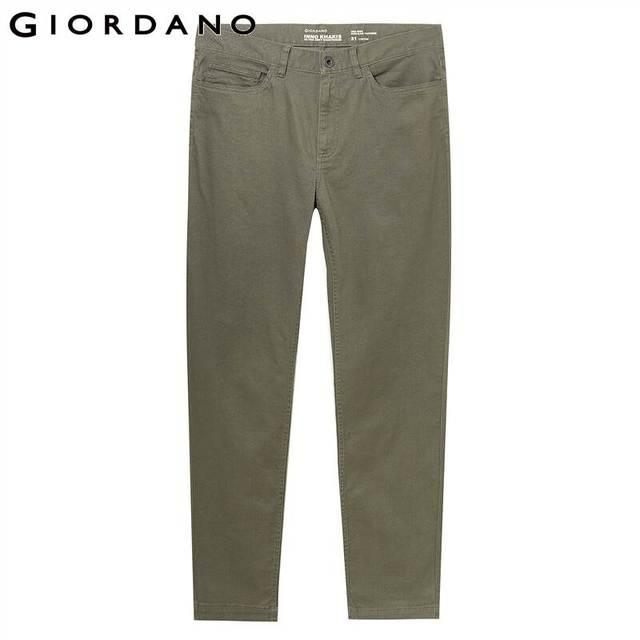 Giordano Men Pants Men Stretchy Cotton Spandex Solid Color Casual Pants Men Zip Front Button Closure Pantalones Hombre 58