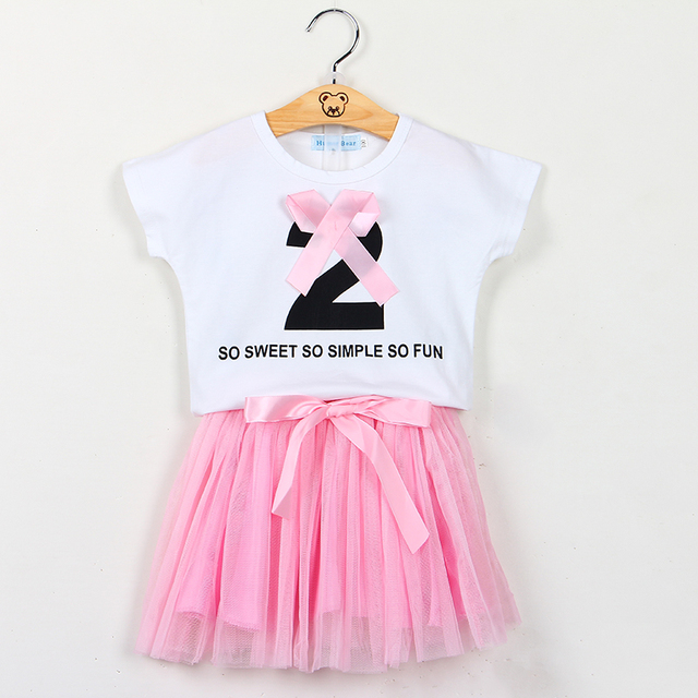 fc921c1843 New Summer Dress Suits White T-shirt Top+Pink Skirts Suit Girls Dress  Vestidos Baby Girl Clothes