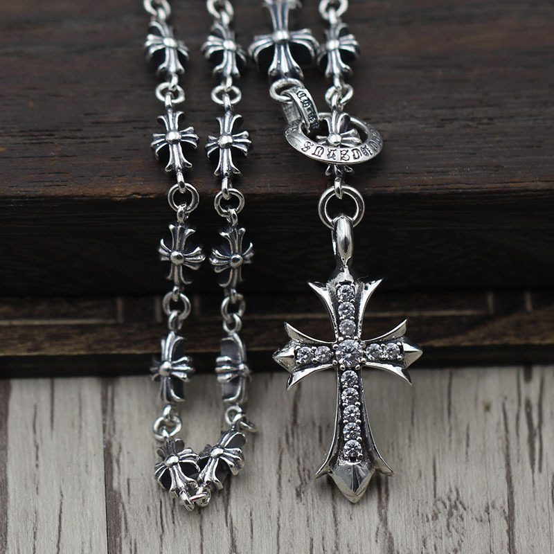 Thai Silver Cross Adjustable Sweater Chain Sterling Silver 925 Inlaid Crusader Flower Pendant Retro Necklace Chain 12v cordless electric drill household mobile power supply lithium ion battery screwdriver cordless electric drill power tools