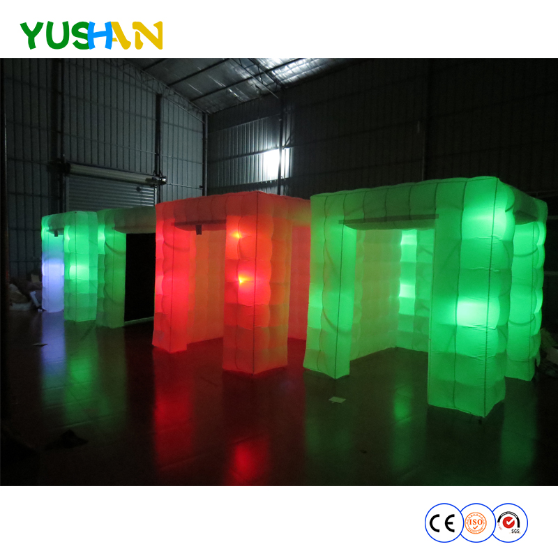 Brightly Funny Photo Booth Enclosure portable photo booth Tent 16 colors Changing LED lights Mirror photo booth Backdrop For DJ