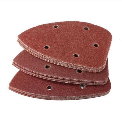 10pcs 90mm Triangle Sandpaper Six Hole Disk Sand Sheets Grit 60 Hook And Loop Sanding Disc Polish