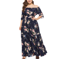 Plus Size 5XL 6XL Women Dress Elegant Big Large Size Slash Neck Off Shoulder Clothes Evening Party Dresses Vintage Boho Vestidos