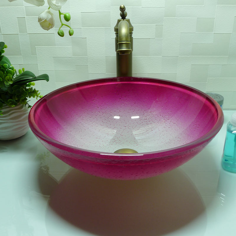 Genial Oval Bathroom Tempered Glass Pink Counter Top Wash Basin Cloakroom Hand  Painting Above Counter Vessel Sink Washing Bowl HX014 In Bathroom Sinks  From Home ...