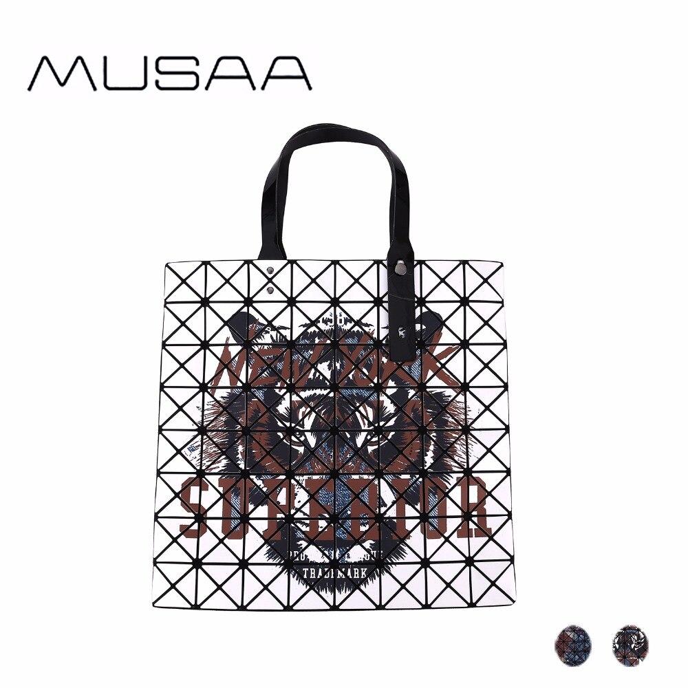 MUSAA PU En Cuir Impression Diamant Pliage Sacs À Main pour Femmes Haute Capacité bricolage multi-fonction livraison à plier Panier sac à bandoulière