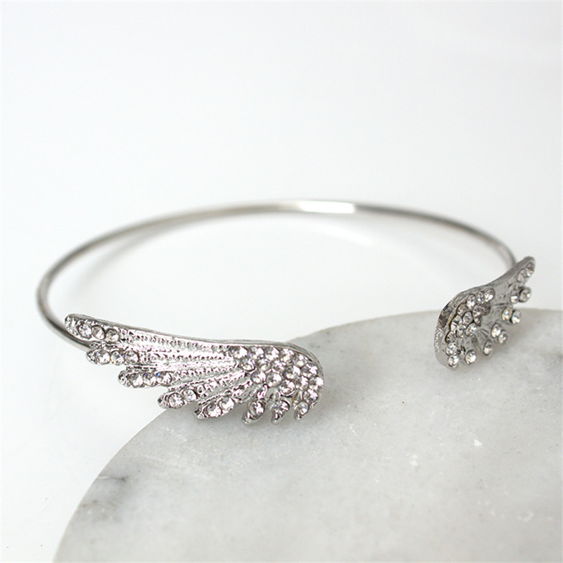 Angel wings crystal bracelet personality alloy opening flash drill bracelet    8BD08 1