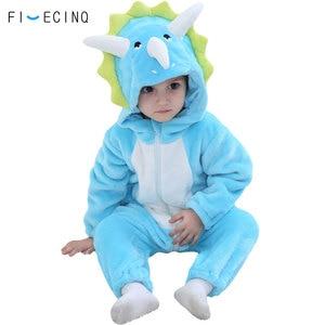 Image 1 - Animal Triceratops Kigurumis Baby Kid Onesie Blue Dinosaur Cosplay Costume Flannel Warm Funny Cute Sleep Jumpsuit Fancy Pajama